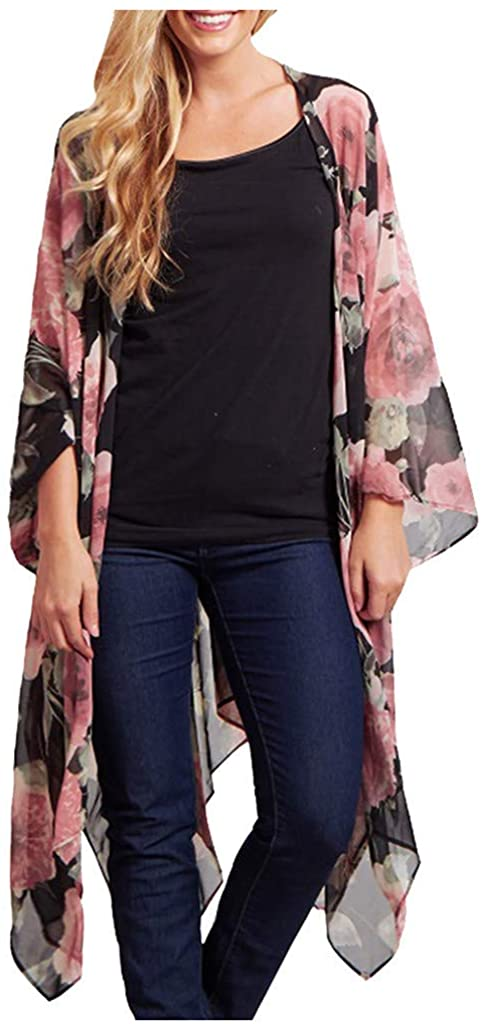 Ninasill Fashion Womens Long Sleeves Flowers Printing Cardigan Smock Blouse Easy Tops