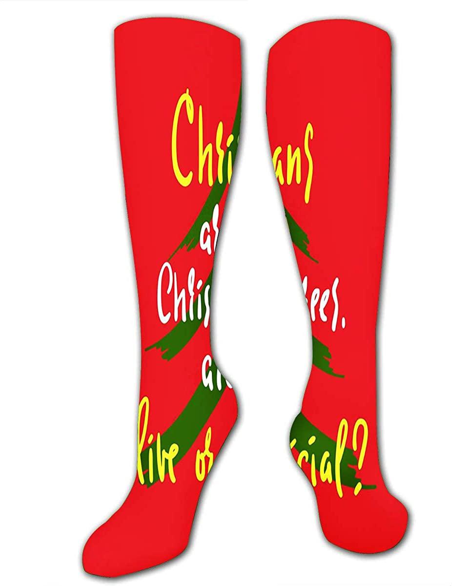 Running Socks For Women Men Christmas Trees Compression Socks