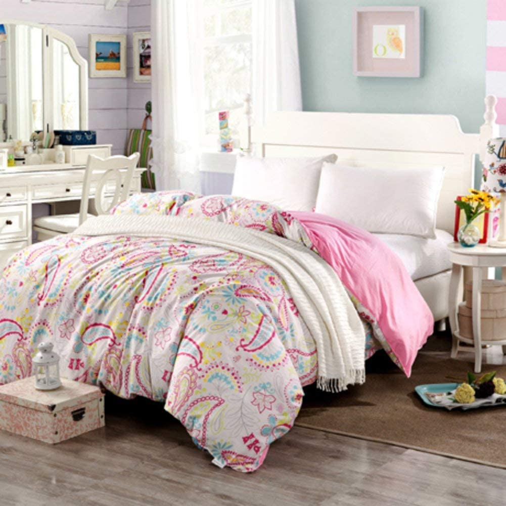 WIN&FACATORY Duvet Cover in European Style Duvet Cover in Cotton Duvet Cover in Plants and Flowers-A 220 240 cm (87 x 94 inches)