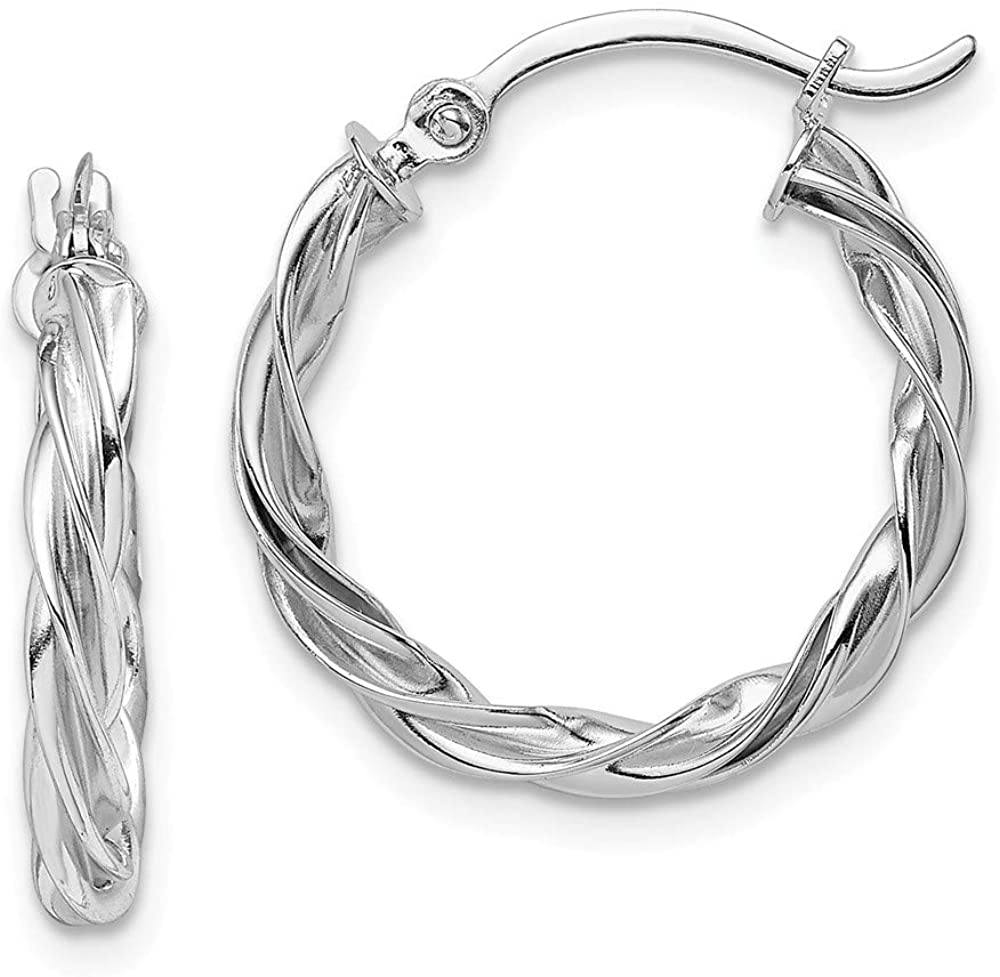 Solid 14K White Gold Twisted Hoop Earrings - 20mm x 19mm