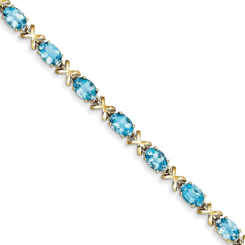 Solid 14k Yellow Gold 7x5mm Oval Blue Topaz bracelet 7