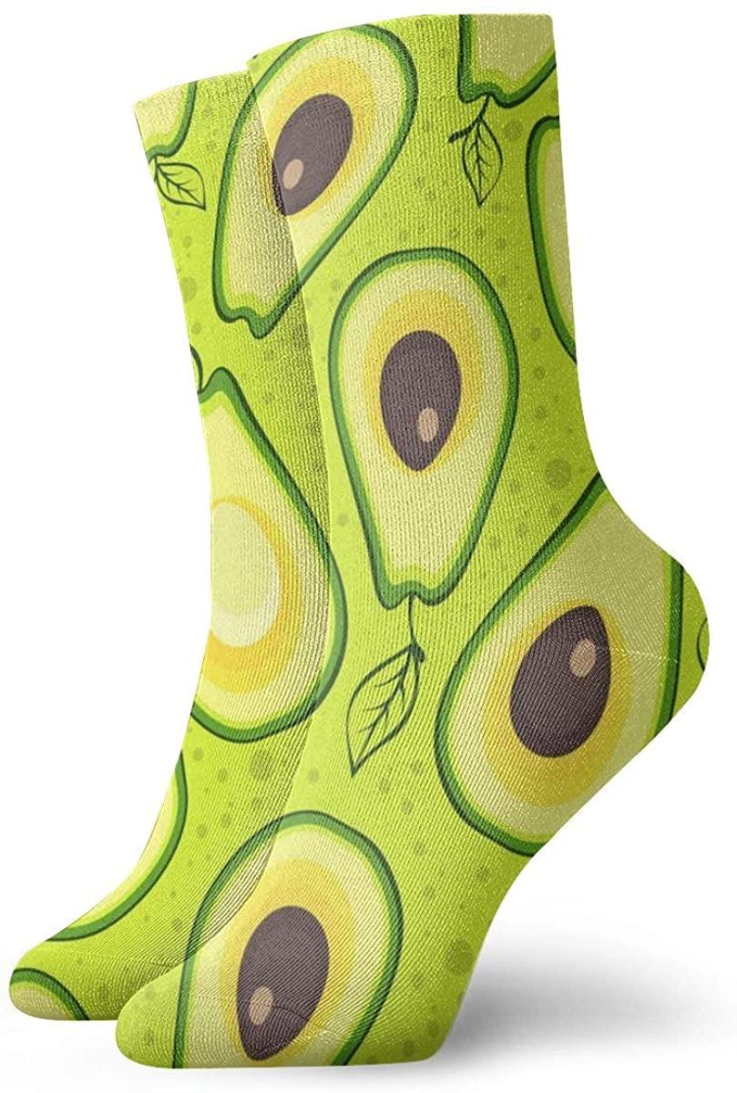 Avocado Pattern Short Crew Socks Dress Socks Athletic Socks