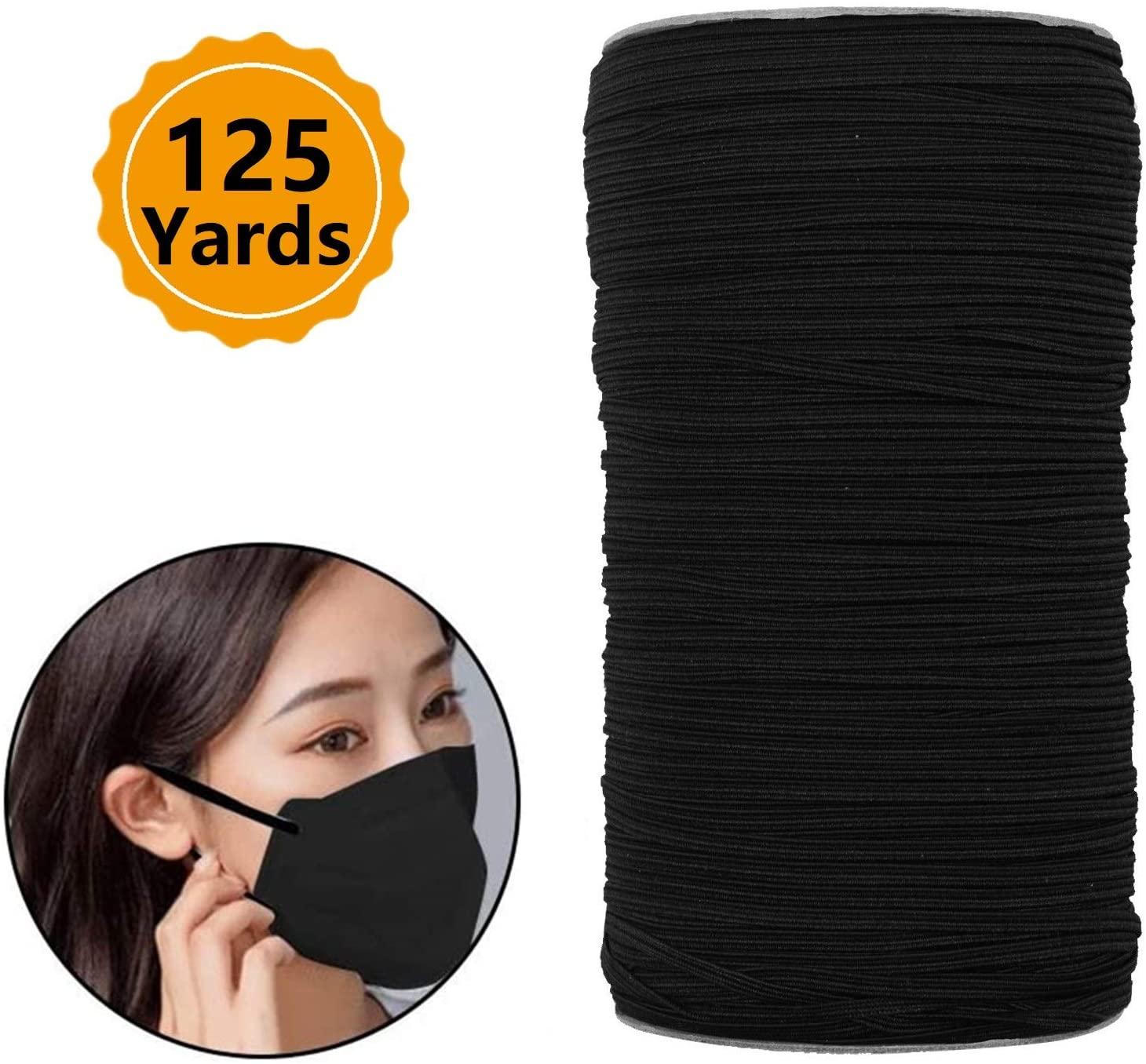 Braided Elastic Band Black 125 Yards Length 3mm Width Elastic Rope Elastic Cord Heavy Stretch High Elasticity Knit Elastic Band for Sewing Crafts DIY Bedspread Cuff
