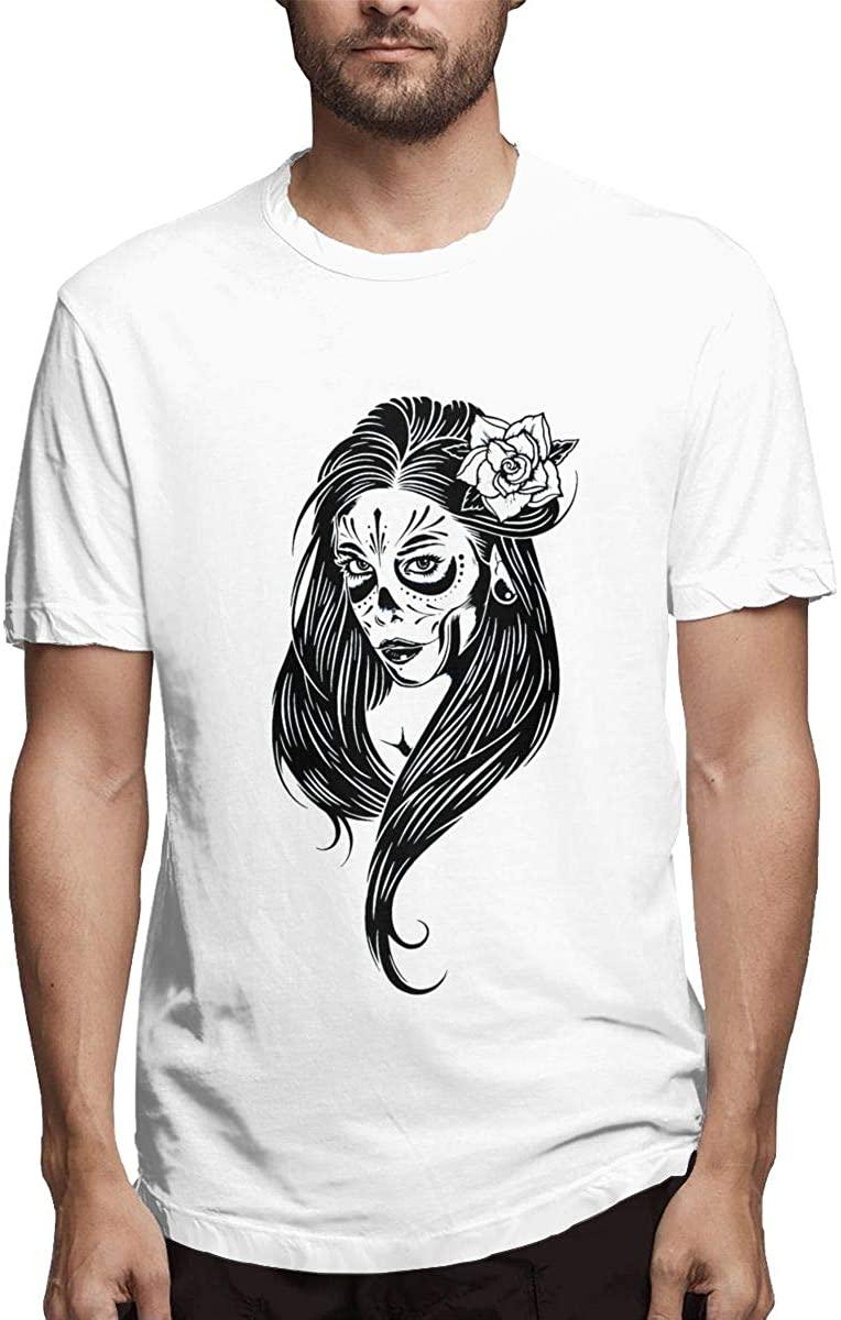 HaiguangZ New Skull La Calavera Catrina T Shirts for Men Cotton O-Neck Deep Heather