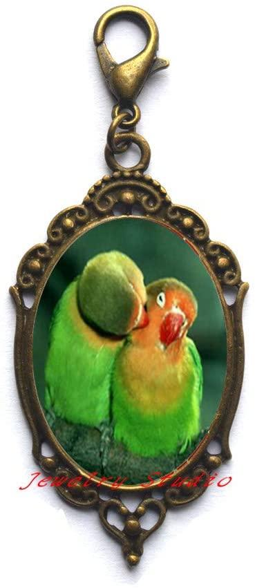 New Beautiful Parrots Zipper Pull Parrots Lobster Clasp Beautiful Birds Jewelry Glass Dome Lobster Clasp Zipper Pull-HZ0195