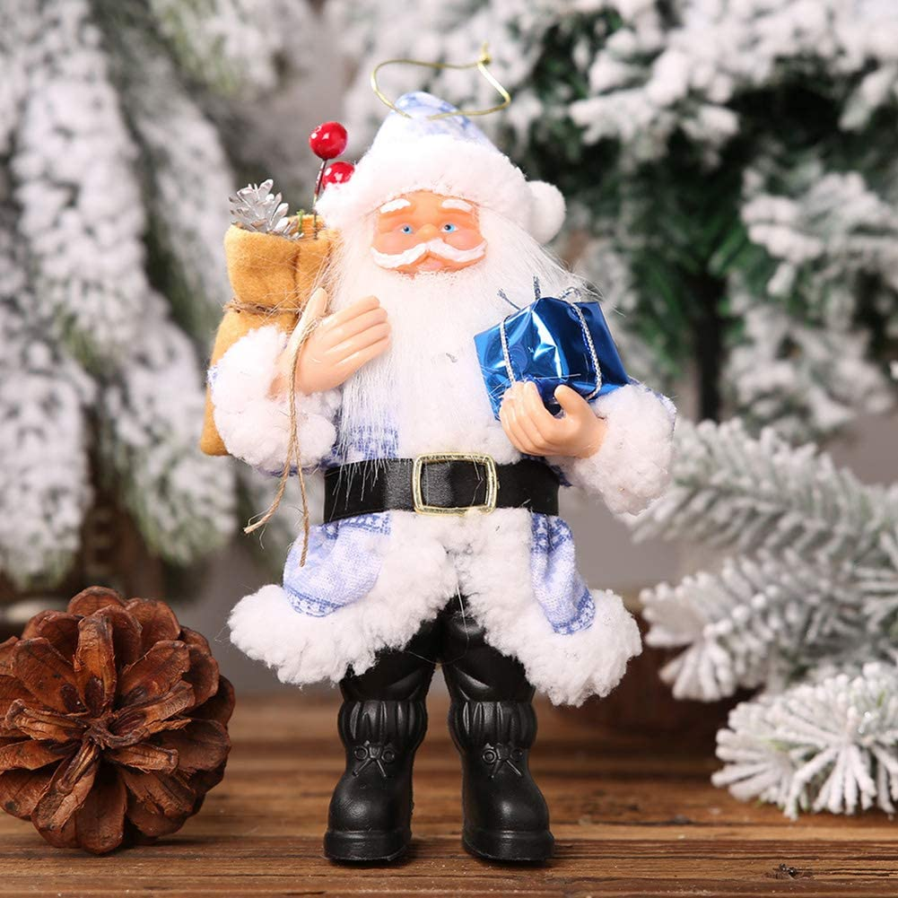 FADZECO Christmas Decoration Pendant Resin Santa Claus Standing Posture Small Doll