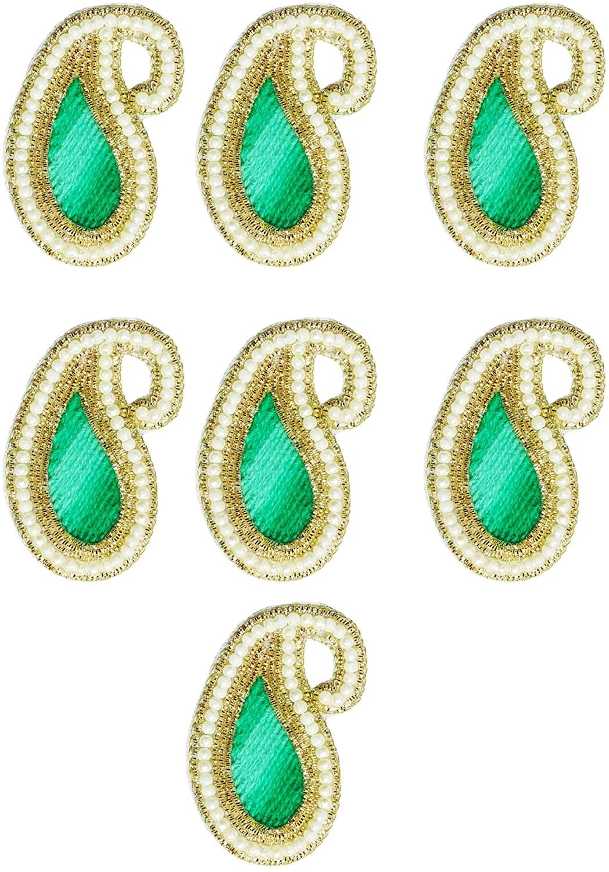 Peegli Bridal Applique Patch Green Paisley Appliques Handmade Sari New Patches 7 Pcs Beaded Applique DIY Dress Decoration