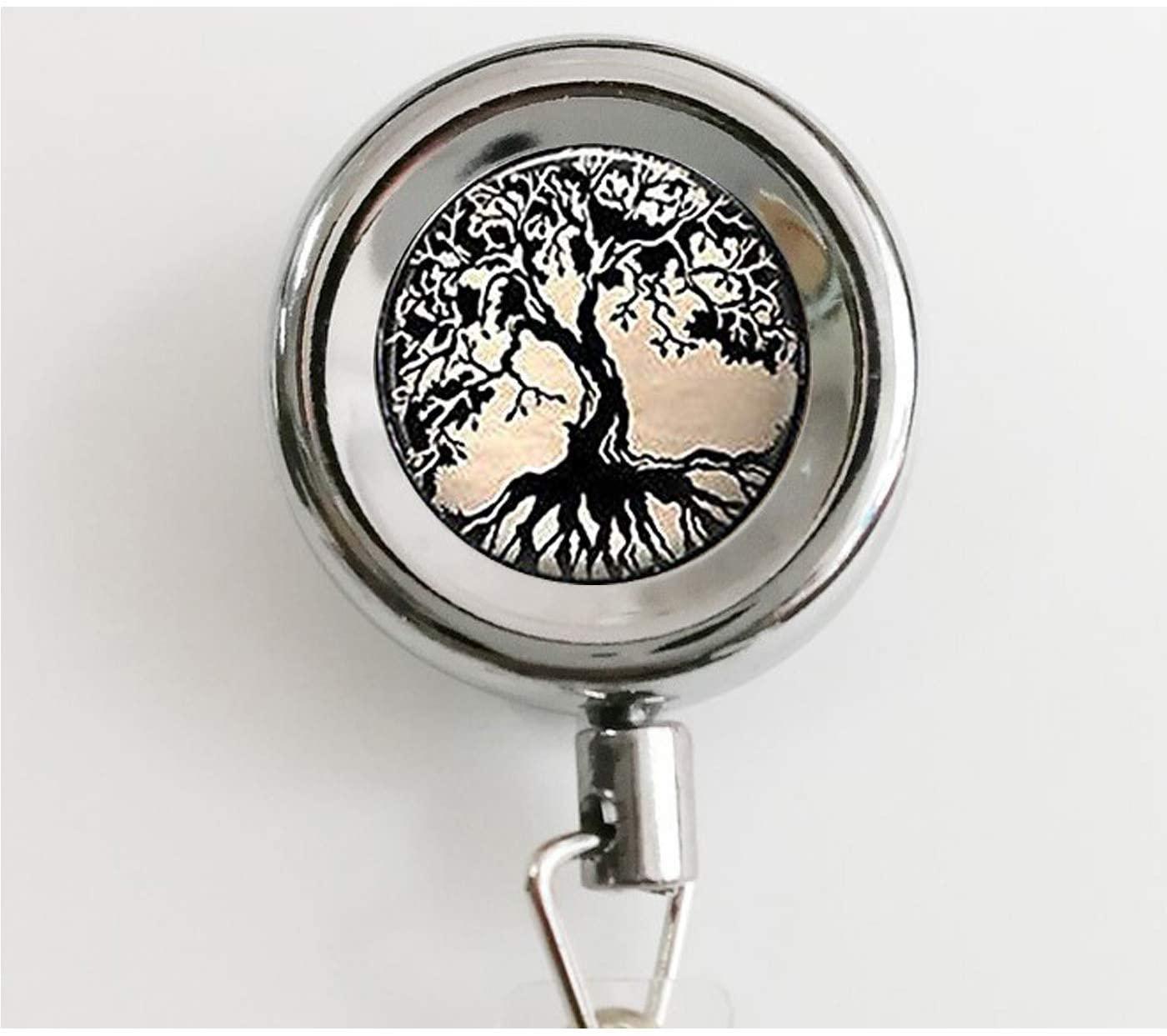 Glass Tile Keychain,Tree Keychain,Tree of Life Glass Tile Keychain_ Retractable Badge Reel with Waterproof ID Holders & Keychain