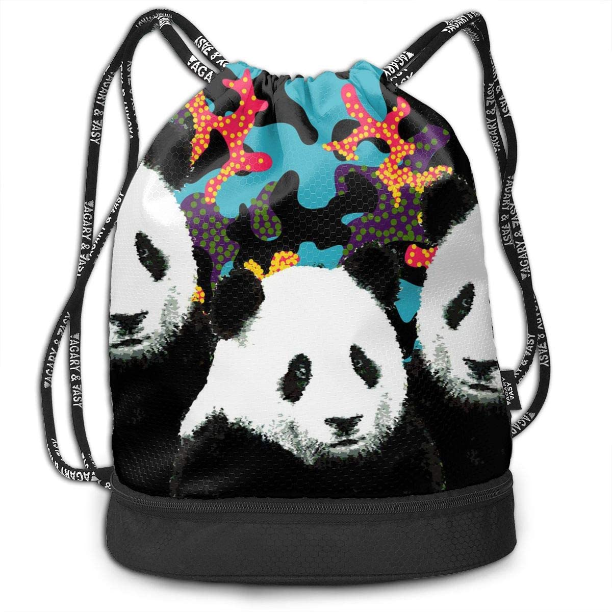Bundle Backpacks Camo Panda Gym Sack Drawstring Bags Casual Daypack Yoga Bag School Training Pouch