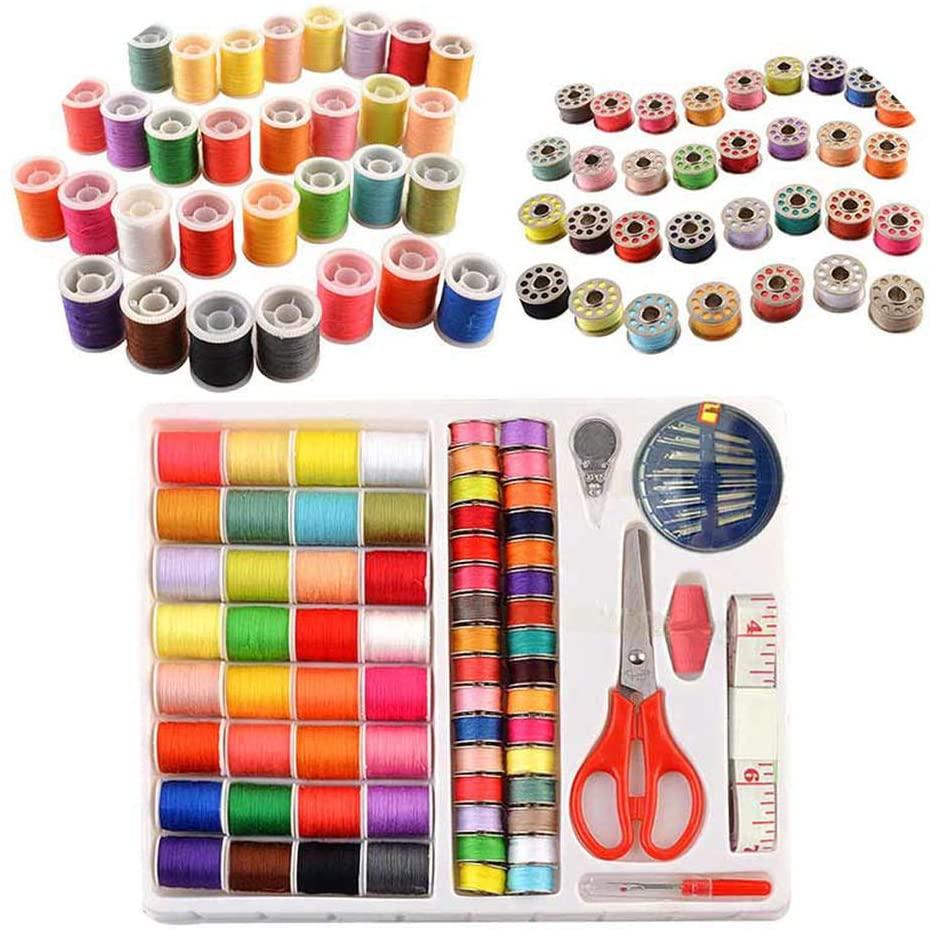 S-D-A Sewing Box Kit 100Pcs/Set Measure Scissor Thimble Thread Needle Travel Sets,Random Color