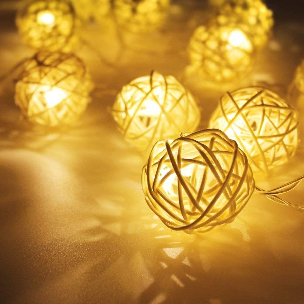 Fairy Lights, 3m 20 Rattan Ball Led Fairy Lights, Waterproof Christmas Lights for Christmas Decorations (Color : Warm White)