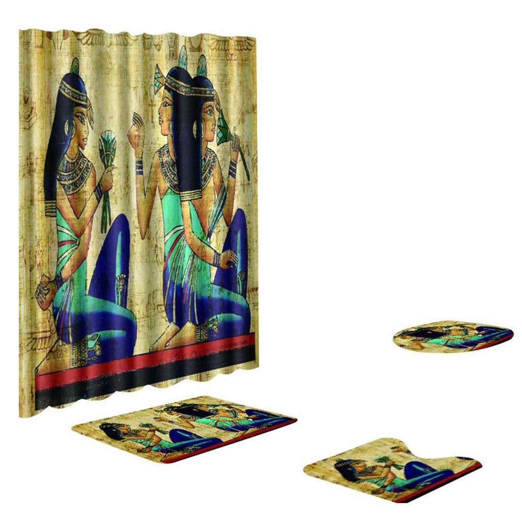African Style Shower Curtain Shower Mat Set 4 Toilet Cover Bathroom Base Carpet + Cover Toilet Cover + Shower Mat Mildew-Proof Shower Curtain