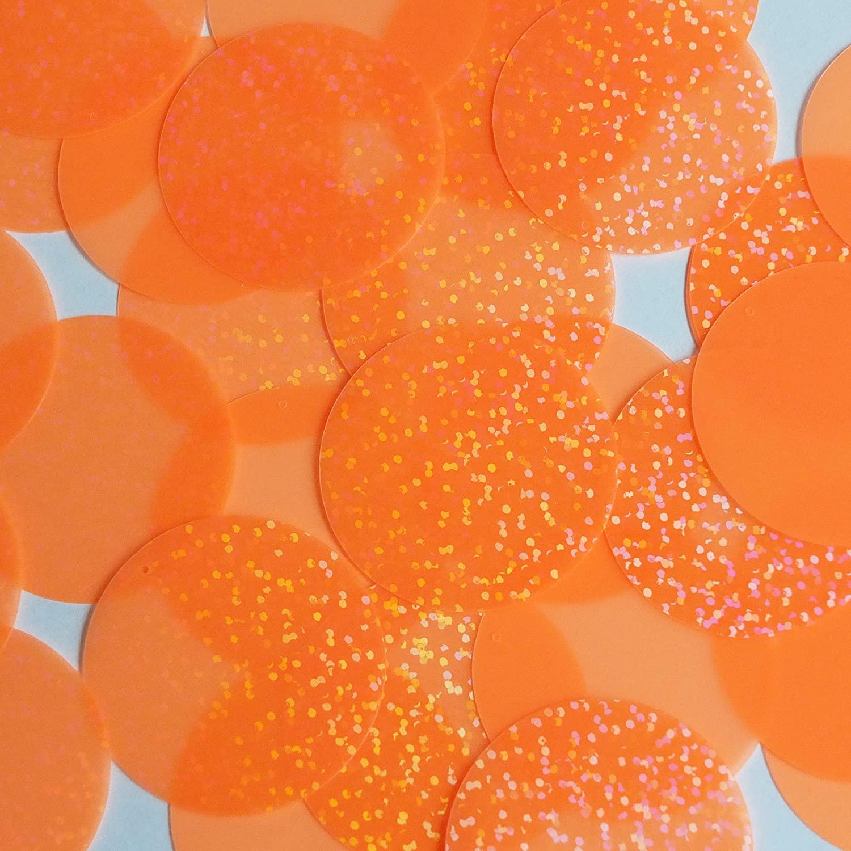 Round Sequin 40mm Orange Tangerine Fluorescent Transparent Hologram Glitter Sparkle Loose Couture Pa