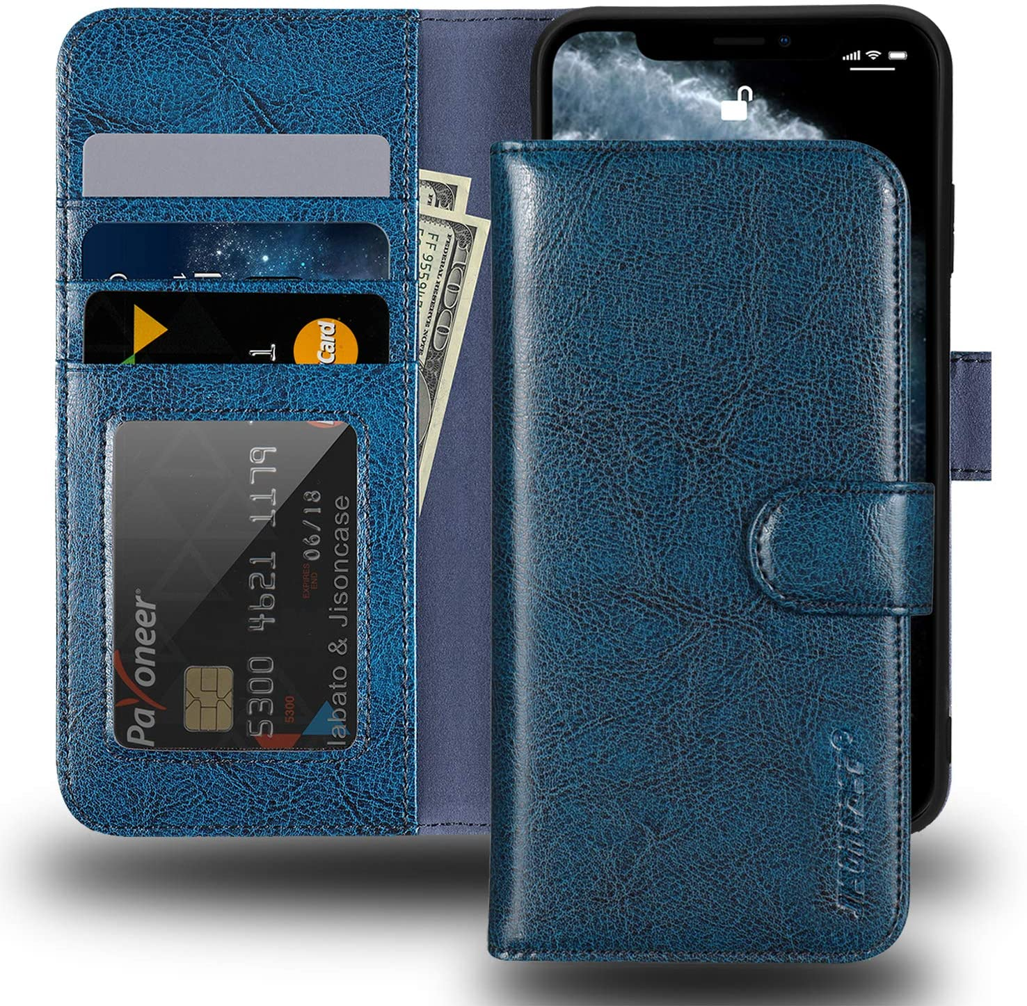 JISONCASE iPhone Xs Max Wallet Case,Genuine Leather iPhone Xs Max Case with Card Holder RFID Blocking Wireless Charging,Protective Cover Flip Case for Apple iPhone Xs Max 6.5
