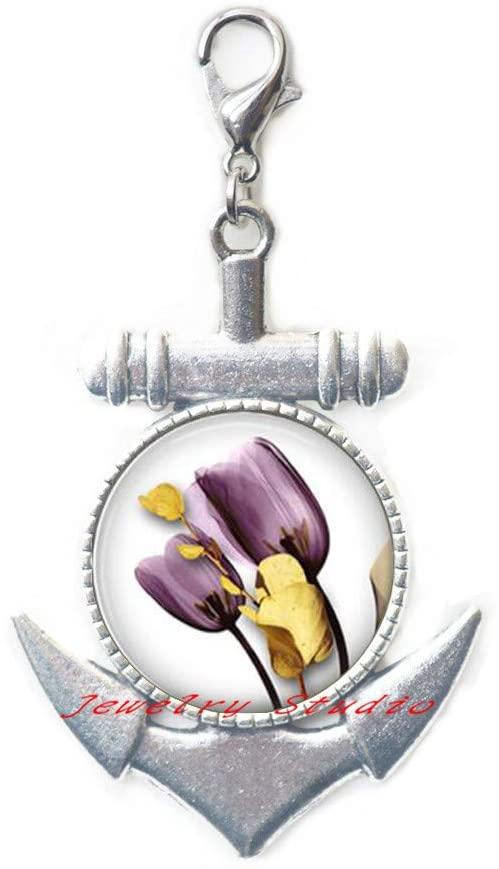 Tulip Flower Anchor Zipper Pull Summer Tulip Jewelry Purple Tulip Lobster Clasp Flower Jewelry Purple Lobster Clasp Tulip Charm - Summer Flower Anchor Zipper Pull Jewelry-HZ0344