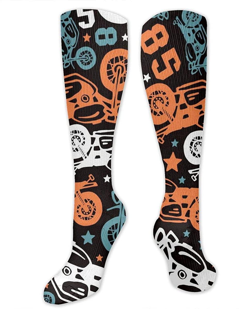 Knee High Socks For Men Women Motorcycles Drawings Running Hose Stockings