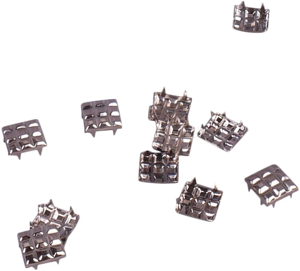 Porcelynne Silver Metal Quilted Square Decorative Vintage Studs Leathercraft DIY Punk Spikes Spots Studs Goth Nailhead - 12mm - 50 Pieces