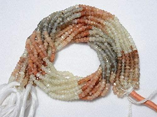 GemAbyss Beads Gemstone 5 Strands 3.5mm Multi Moonstone Beads, Faceted Rondelle Beads, Moonstone Rondelles, Gemstone Beads, 14 Inch Code-MVG-31656