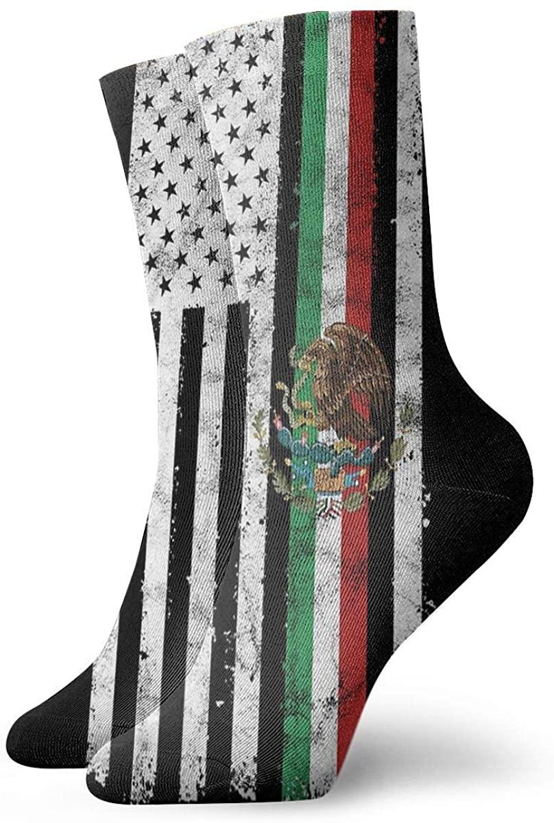 Mexican-American Flag Short Crew Socks Dress Socks Athletic Socks