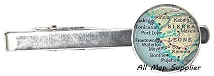 AllMapsupplier Charming Tie Clip Sierra Leone map Tie Clip Tie Pin,Sierra Leone Fashion map Jewelry,Sierra Leone map Tie Clip,Adoption Tie Clip Tie Pin,A0014