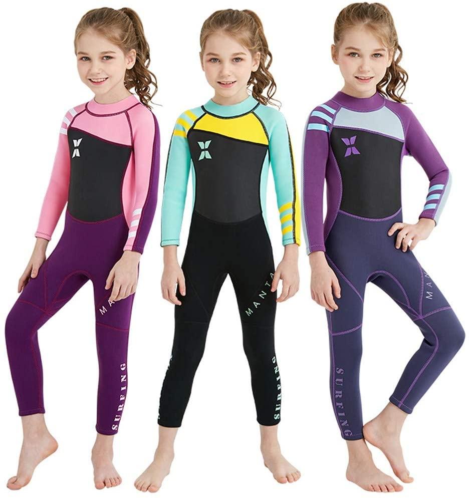 Sameno Little Kids Girls One Piece Water Sports Sun Protection Rash Guard UPF 50+ Long Sleeve Full Suit Swimsuit Wetsuit