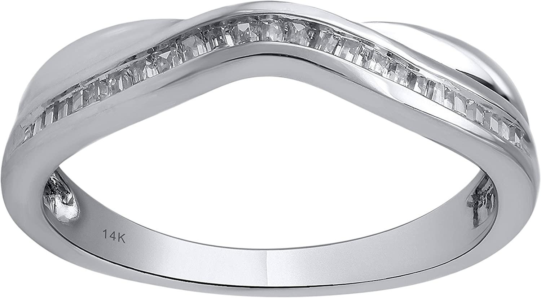 14k White Gold 1/4cttw Diamond Contour Ring