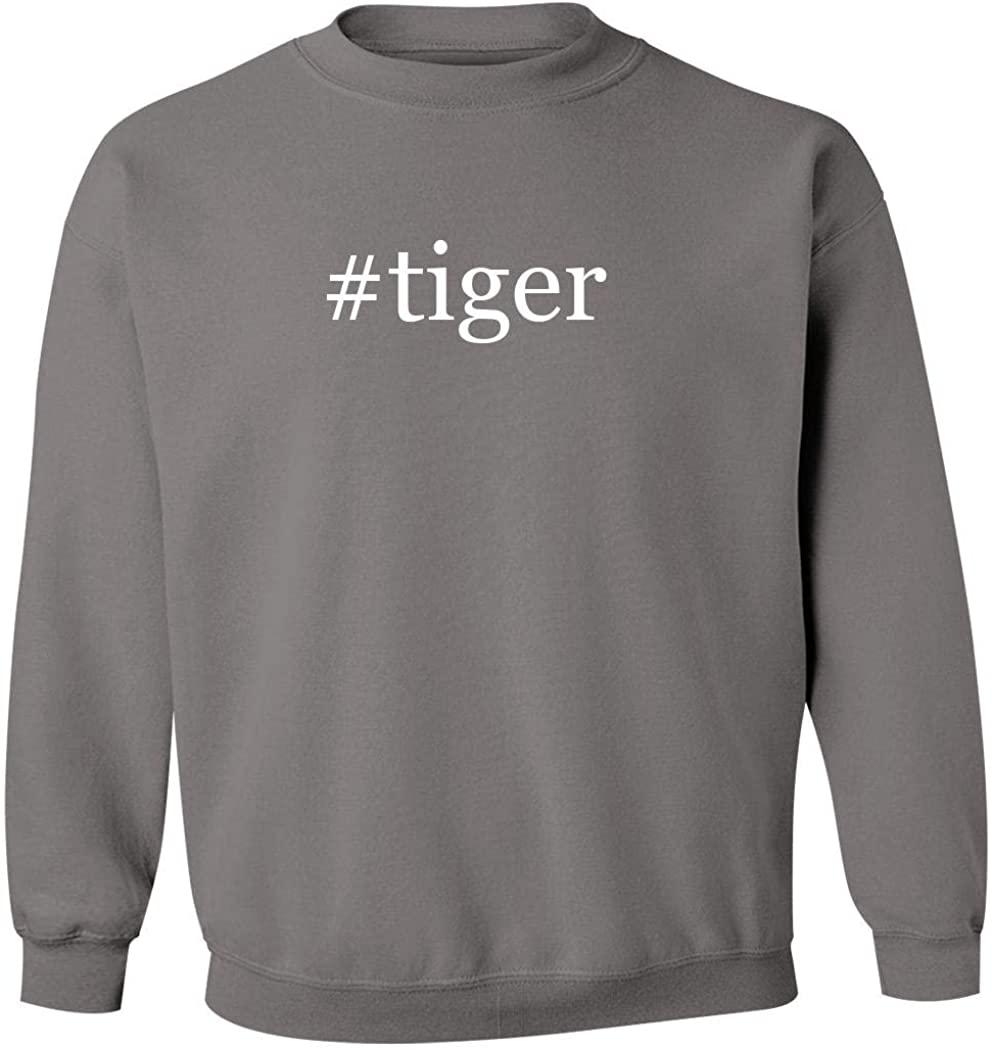 #tiger - Men's Hashtag Pullover Crewneck Sweatshirt, Grey, Medium
