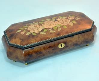 Made in Italy Sorrento Three Roses Burl Elm Musical Jewelry Box - Impossible Dream (Sankyo 18 Note)