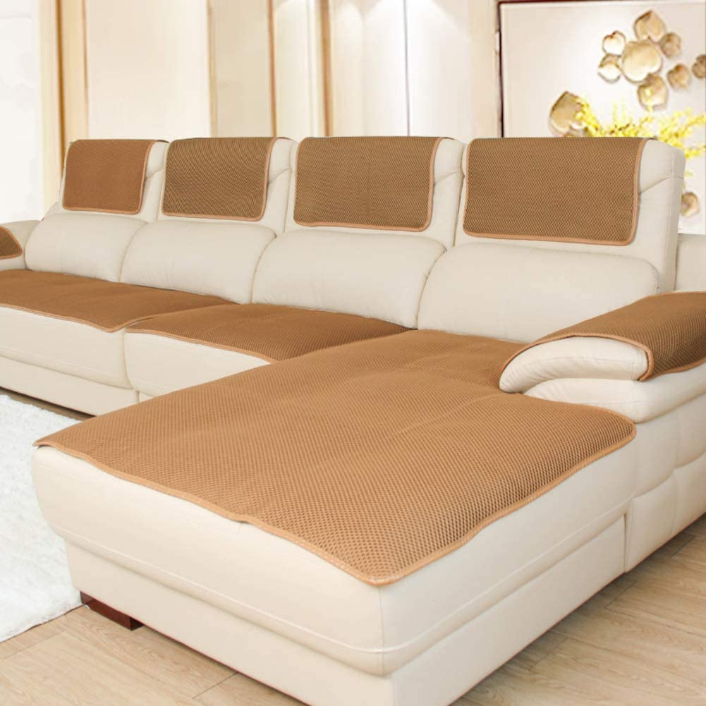 HOMRanger Solid Color Grid Sofa Slipcover,Soft Non-Slip Breathable Sofa Cover Durable Washable Combination Couch Cover Furniture Protector Light Tan 80x160cm(31x63inch)