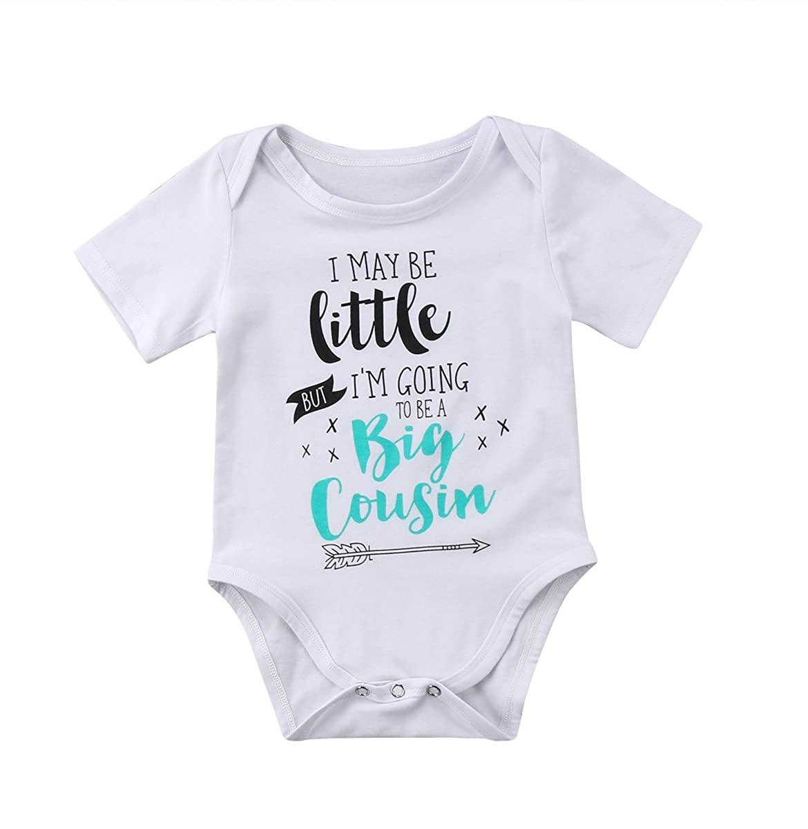 WALLARENEAR Summer Newborn Unisex Baby Cotton Bodysuit Letters Print Short Sleeve Romper for Baby Girl Boy
