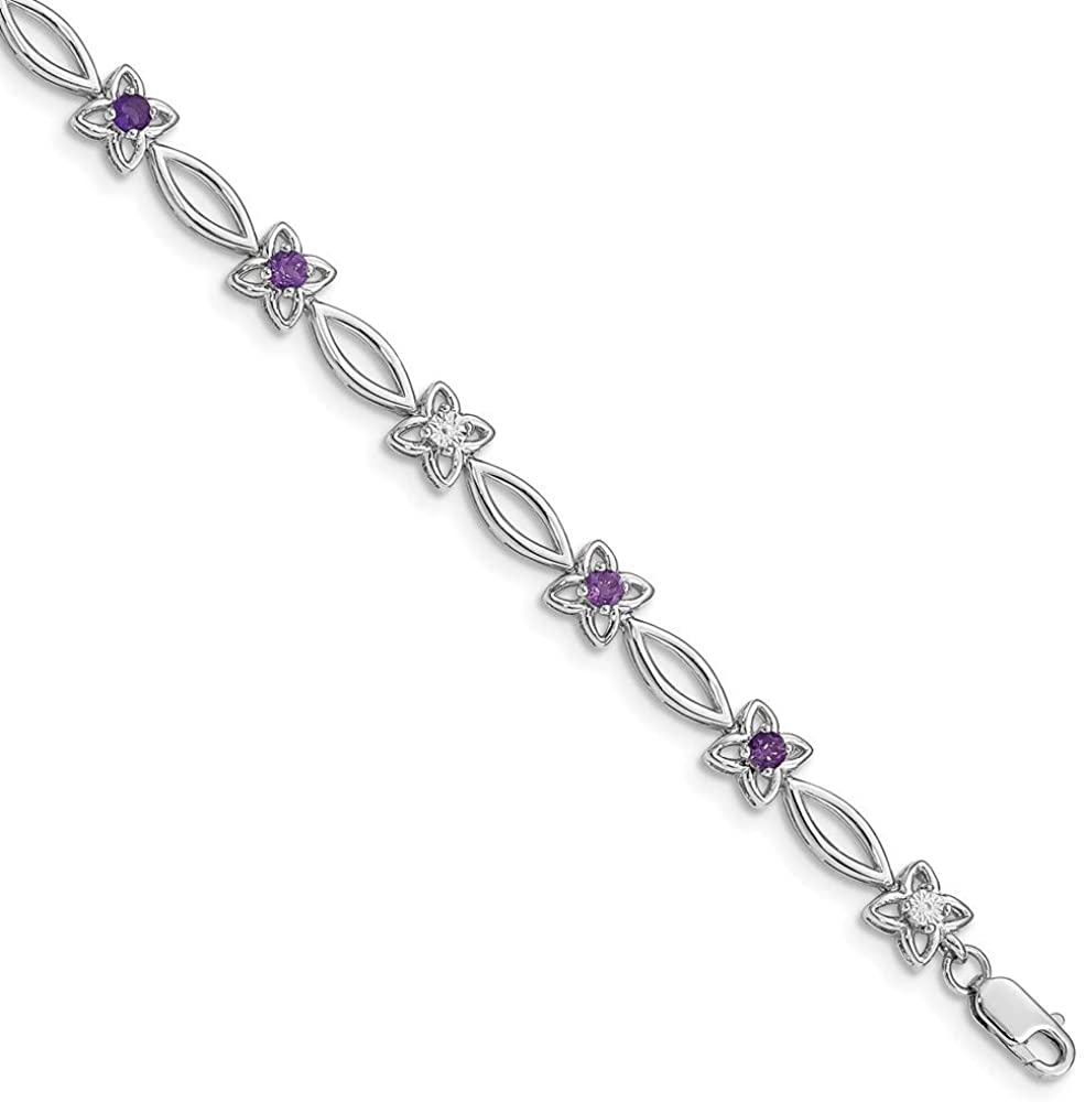 Solid 925 Sterling Silver Amethyst Purple February Gemstone and Diamond Bracelet - with Secure Lobster Lock Clasp 7