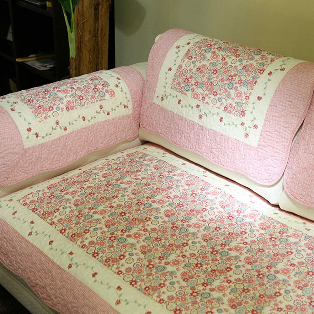 XFXDBT Pastoral Cotton Embroidery Sofa Slipcover Sectional Multi-Size Non Slip Washable Quilted Sofa Covers Stain Resistant Sold by Piece-Pink 90x210cm