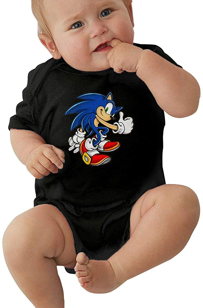 So-Nic The Hedg-Ehog Ser-Ies Unisex Baby Bodysuits Pants Baby Clothes Short Sleeve Bodysuits Onesies Black