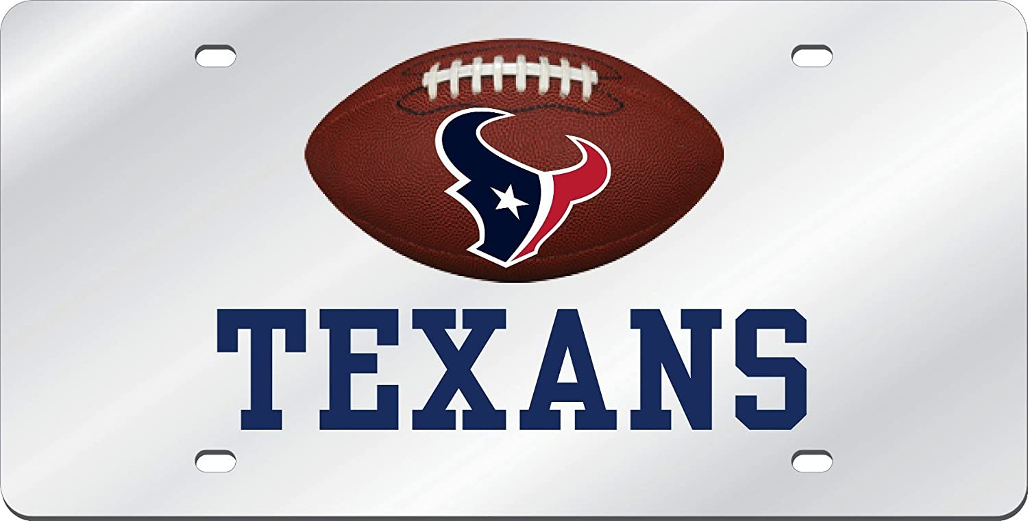 Stockdale Houston Texans Football Deluxe Silver Laser Cut Acrylic Inlaid License Plate Tag