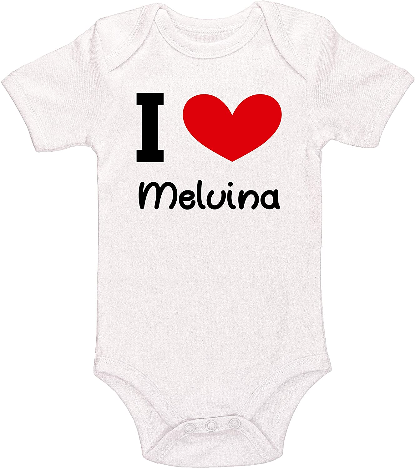 Kinacle I Love Melvina Personalized Baby Bodysuit