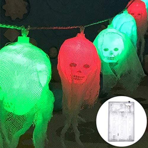 Soft Ever ST 2.5m Gauze Ghost Head Design Colorful Light Halloween Series LED String Light, 20 LEDs 3 x AA Batteries Box Operated Party Props Fairy Decoration Night Lamp. SE-FT