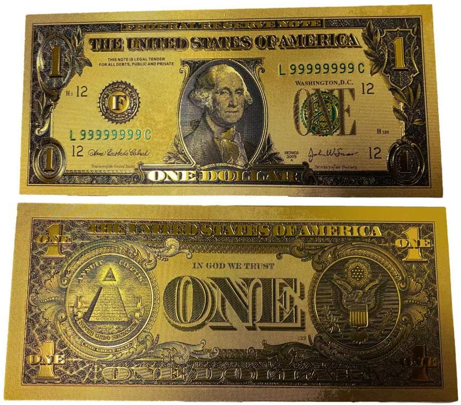 blinkee Premium Replica 1 Dollar Paper Money Bill 24k Gold Plated Fake Currency Banknote Art Commemorative Collectible Holiday Decoration