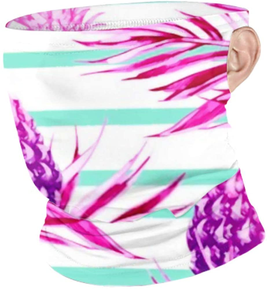 Windproof Face Mask Scarf Men Women Neck Gaiterr Tropical Palm Leaves Pineapples Beautiful Seamless Hanging Ear Face Mask Protection Cold Weather Bal