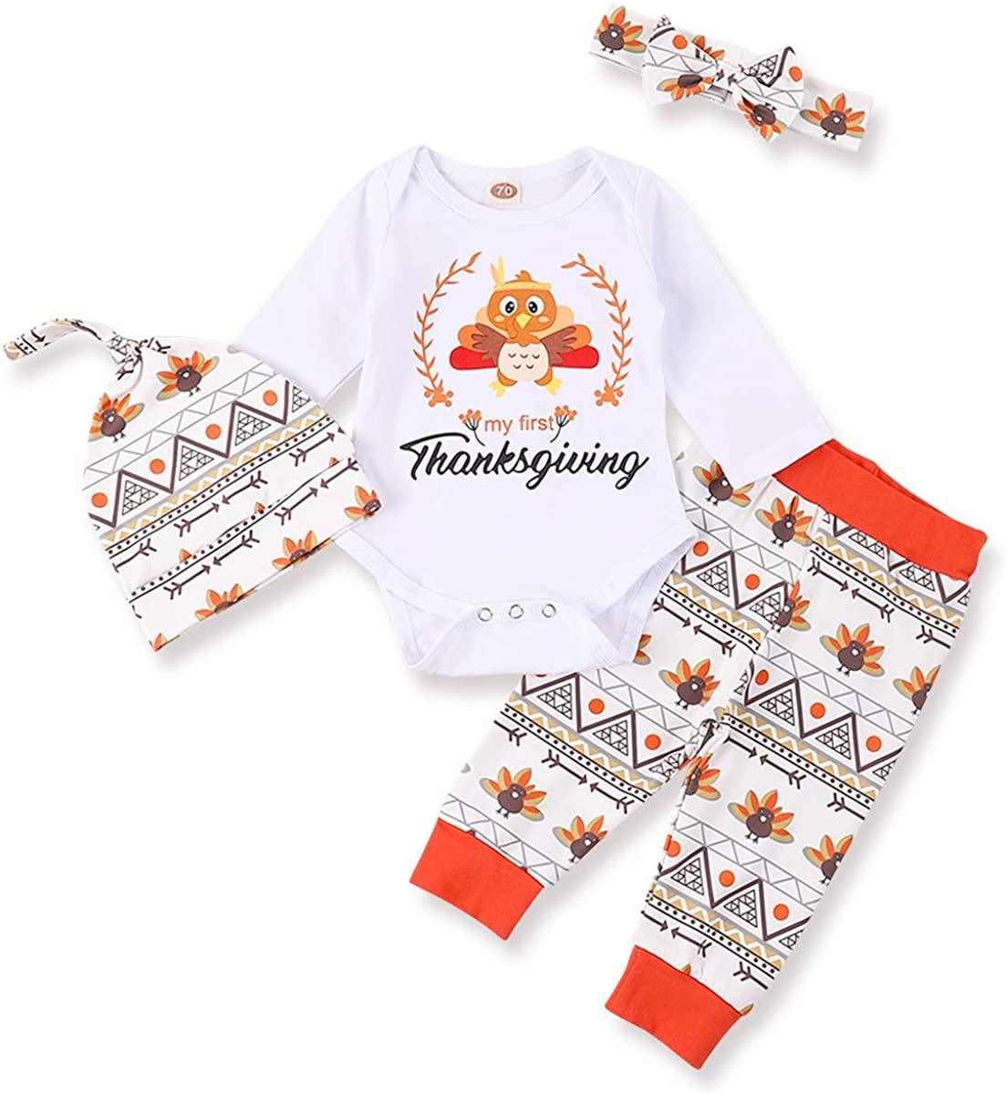 My 1st Thanksgiving Newborn Baby Girl Boy Romper Bodysuit Turkey Cartoon Pattern Pants Hat and Headband 4Pcs Outfits Set