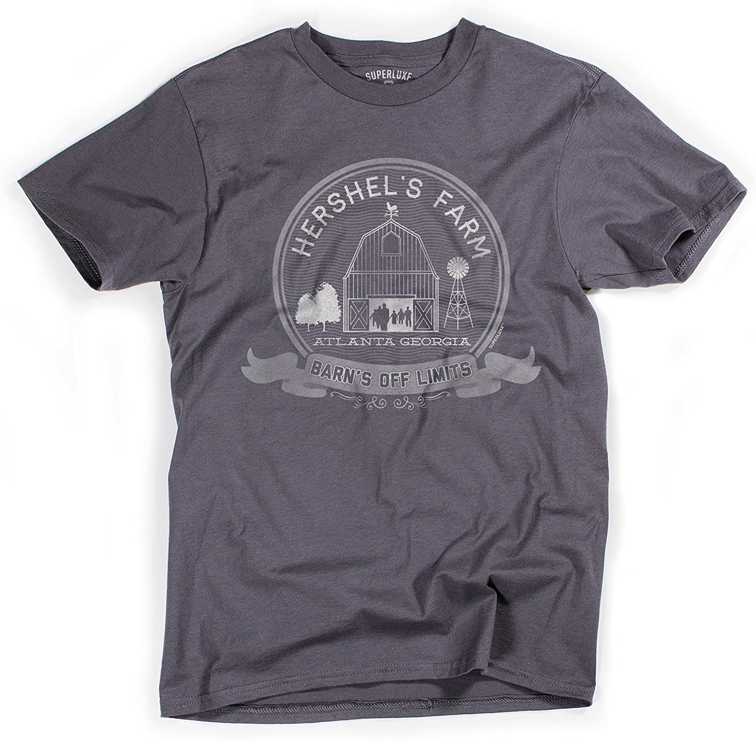 Superluxe Clothing Mens Hershels Farm Vintage Zombie Apocalypse Barn T-Shirt