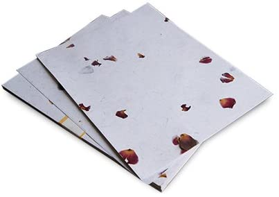Handmade Printable Floral Paper White with Rose Petals and Jute