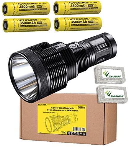 Nitecore TM38 Lite CREE XHP35 HI D4 LED Flashlight/Searchlight -1800 Lumens w/4x NL1835 Batteries +2x FREE Eco-Sensa Battery Cases