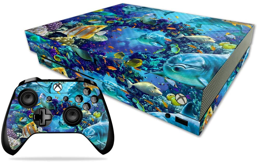 MightySkins Carbon Fiber Skin for Microsoft Xbox One X - Ocean Friends | Protective, Durable Textured Carbon Fiber Finish | Easy to Apply, Remove, and Change Styles | Made in The USA