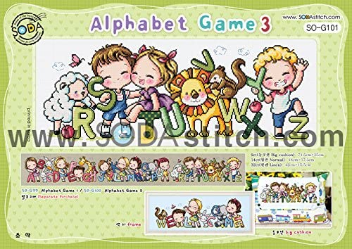 SO-G101 Alphabet Game 3, SODA Cross Stitch Pattern leaflet, authentic Korean cross stitch design chart color printed on coated paper