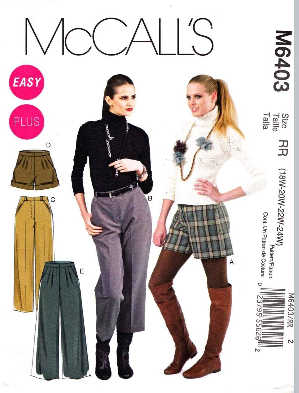 McCall's Patterns M6403 Misses'/Women's Shorts and Pants In 2 Lengths, Size RR (18W-20W-22W-24W)