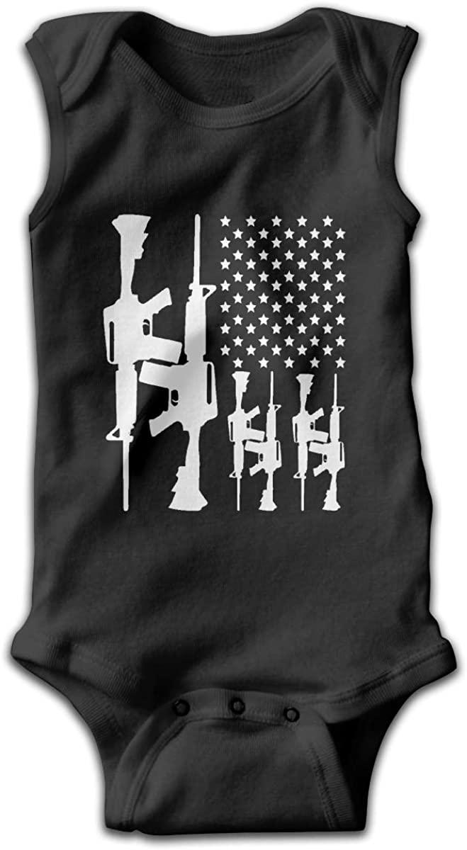 EASON-G Gun American Flag Unisex Baby Bodysuit Infant Cotton Outfits Rompers Black