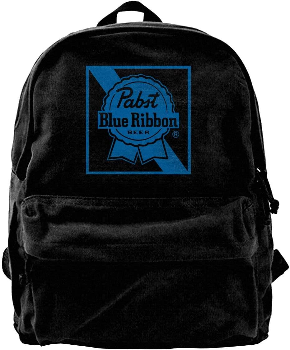 Pabst Blue Ribbon Beer Logo Canvas Backpack School Laptop Bag Hiking Travel Rucksack Black Unisex Daypack