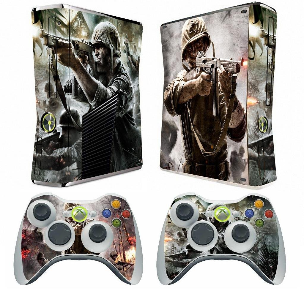 Call Of Duty Vinyl Decal Skin Sticker for Xbox360 Slim with 2 Controller Skins