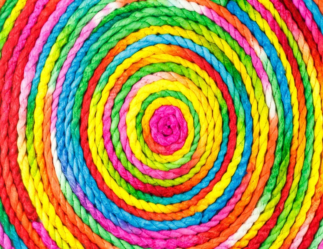 Sayakki DIY 5D Diamond Painting Kits Rainbow Colorful Rope Circle Made Mulberry Full Drill Embroidery with Diamond for Home Wall Decor Gift 14X20 Inch