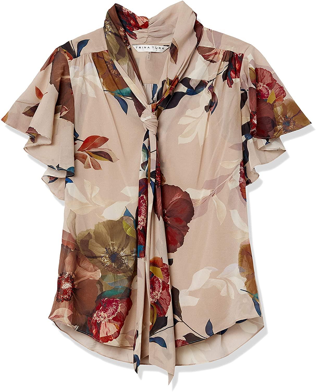 Trina Turk Women's Bracken Faye Floral Silk Tie Neck Top